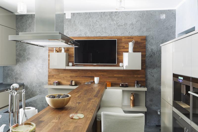 Nowoczesna kuchnia z elementami drewnianymi